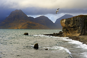View to Cuillin Hills from Elgol harbour, Isle of Skye, Inner Hebrides, Scotland, United Kingdom, Europe