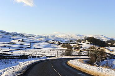 Snow covered winter landscape, Wensleydale, Yorkshire Dales National Park, North Yorkshire, England, United Kingdom, Europe