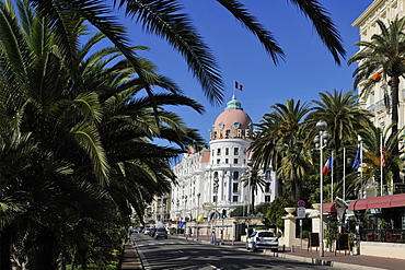 Hotels lining Promenade des Anglais, Nice, Alpes Maritimes, Provence, Cote d'Azur, French Riviera, France, Europe