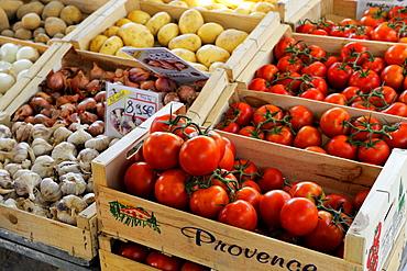 Fruit and vegatable stall on a market, St. Tropez, Var, Provence, Cote d'Azur, France, Europe