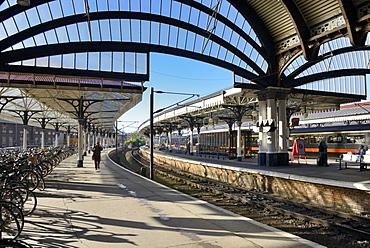 Bicycles on the platform at York Railway Station, York, Yorkshire, England, United Kingdom, Europe
