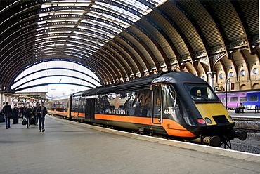 Train at York Railway Station, York, Yorkshire, England, United Kingdom, Europe