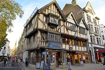 Timber-framed house on Corn Market Street, Oxford, Oxfordshire, England, United Kingdom, Europe