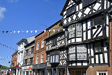 Medieval timber framed buildings, High Street, Ludlow, Shropshire, England, United Kingdom. Europe
