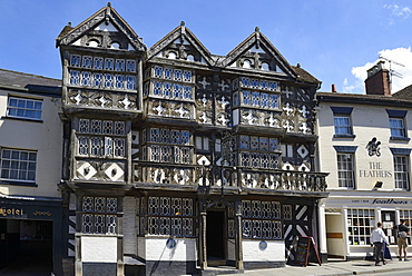 The 15th century timber framed Feathers Hotel, Bull Ring, Ludlow, Shropshire, England, United Kingdom. Europe