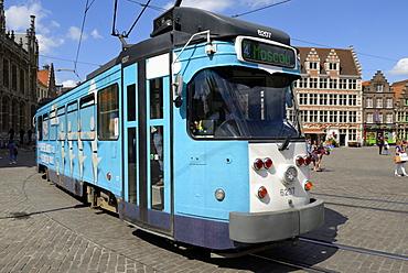 Tram in the Corn Market (Korenmarkt), Ghent, Flanders, Belgium, Europe