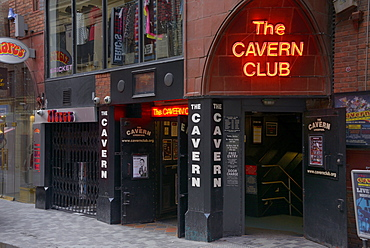 Entrance to the Cavern Club, birthplace of the Beatles, Mathew Street, Liverpool, Merseyside, England, United Kingdom, Europe