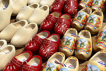 Painted traditional Dutch wooden clogs, Waagplein Square, Alkmaar, North Holland, Netherlands, Europe