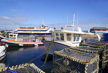 Crab pots and boats in the harbour, John O'Groats, Caithness, Highland Region, Scotland, United Kingdom, Europe