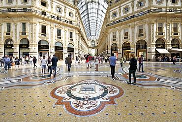 Mosaic tiled floor, Vittorio Emanuele II Gallery, Milan, Lombardy, Italy, Europe