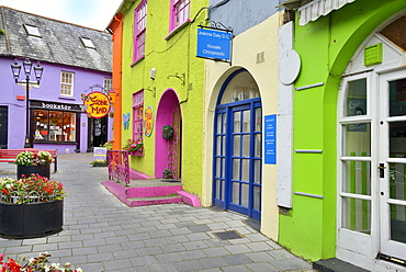Brightly painted houses and shop facades, Kinsale, Wild Atlantic Way, County Cork, Munster, Republic of Ireland, Europe