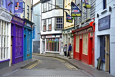 Brightly painted houses and shop facades, Market Lane, Kinsale, Wild Atlantic Way, County Cork, Munster, Republic of Ireland, Europe