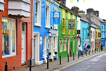 Brightly painted shop facades, Dingle, Dingle Peninsula, Wild Atlantic Way, County Kerry, Munster, Republic of Ireland, Europe