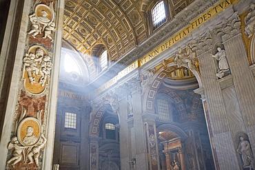 Interior, St. Peter's Basilica, Vatican, Rome, Lazio, Italy, Europe
