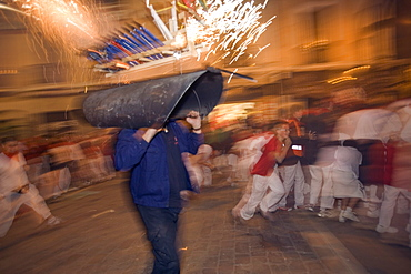 Fireworks bull for children, San Fermin festival, Pamplona, Navarra, Spain, Europe
