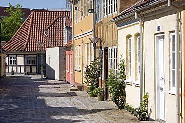 Overgade and Nedergate, area where Hans Christian Andersen was born, Odense, Funen, Denmark, Scandinavia, Europe