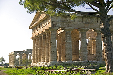 Temple of Poseidon (Neptune),Temple of Hera (Basilica) beyond, Paestum, UNESCO World Heritage Site, Campania, Italy, Europe