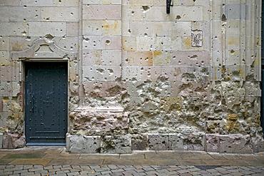 Signs of the Civil War in Sant Felip Neri Square, Gothic Quarter, Barcelona, Catalonia, Spain, Europe