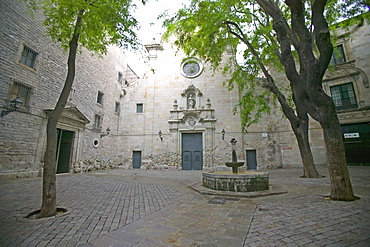Sant Felip Neri Square, Civil War signs, Gothic Quarter, Barcelona, Catalonia, Spain, Europe