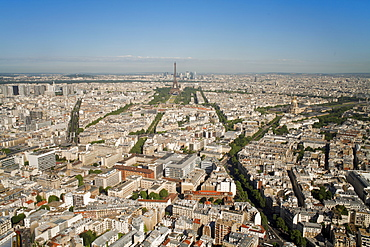 View of city with the Eiffel Tower in distance, from the Tour Montparnasse, Paris, France, Europe