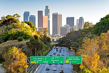 Pasadena Freeway (CA Highway 110) leading to Downtown Los Angeles, California, United States of America, North America
