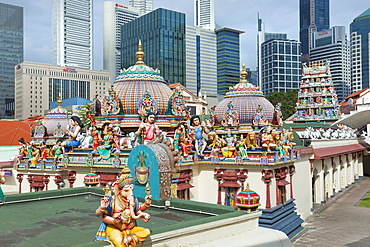 The roof of the Sri Mariamman Temple, a Dravidian style temple in Chinatown, Singapore, Southeast Asia, Asia