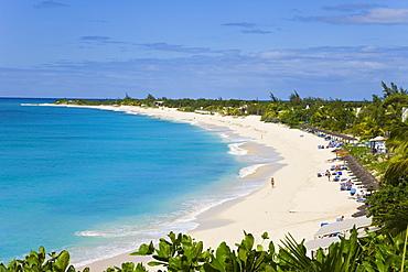 Elevated view of Baie Longue (Long Bay) beach, St. Martin (St. Maarten), Leeward Islands, West Indies, Caribbean, Central America