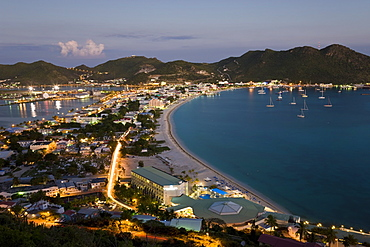 Elevated view over Great Bay and the Dutch capital of Philipsburg, St. Maarten, Netherlands Antilles, Leeward Islands, West Indies, Caribbean, Central America