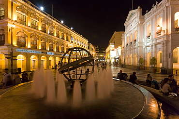 Fountain at night in Largo do Senado square in central Macau, Macau, China, Asia