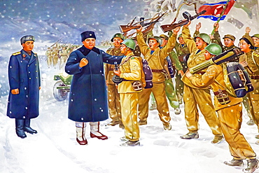 Wall mural of Kim Il Sung, Victorious Fatherland Liberation War Museum, Pyongyang, Democratic People's Republic of Korea (DPRK), North Korea, Asia