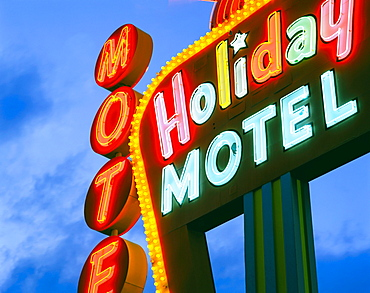 Motel sign, The Strip, Las Vegas, Nevada, United States of America, North America
