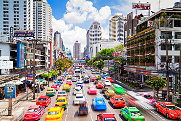 Traffic congestion in Central Bangkok, Thailand, Southeast Asia, Asia