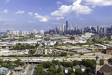 Hancock Tower and city skyline, Chicago, Illinois, United States of America, North America