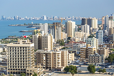 Elevated view of the city skyline and residential suburbs, Kuwait City, Kuwait, Middle East