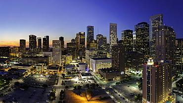 Downtown city skyline, Houston, Texas, United States of America, North America