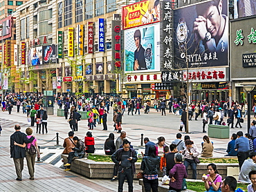 Pedestrianised Wangfujing Street, the main shopping street in Beijing, China, Asia