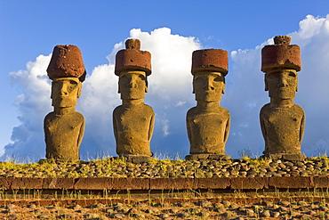 Anakena beach, monolithic giant stone Moai statues of Ahu Nau Nau, four of which have topknots, Rapa Nui (Easter Island), UNESCO World Heritage Site, Chile, South America