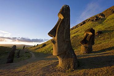 Giant monolithic stone Moai statues at Rano Raraku, Rapa Nui (Easter Island), UNESCO World Heritage Site, Chile, South America