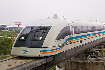 World's first commercial Magnetic Levitation Train (Maglev), which runs from Shanghai International airport to Pudong, Shanghai, China, Asia