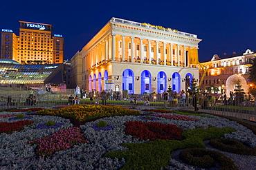 National Music Academy illuminated at night in Maidan Nezalezhnosti (Independence Square), Kiev, Ukraine, Europe