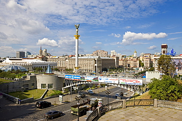 Elevated view over Maidan Nezalezhnosti (Independence Square), Kiev, Ukraine, Europe