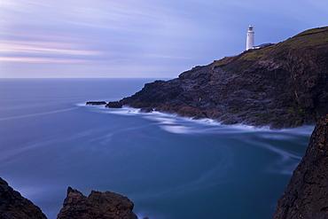 Trevose Lighthouse at dusk, Trevose Head, near Padstow, North Cornwall, England, United Kingdom, Europe