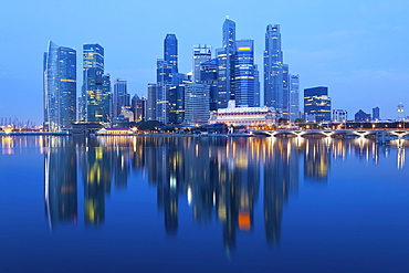 Skyline and Financial district at dawn, Singapore, Southeast Asia, Asia