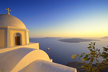 Church and sunset, Thira, Santorini, Cyclades, Greek Islands, Greece, Europe