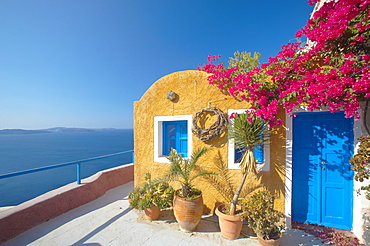 Colourful house in Santorini, Cyclades, Greek Islands, Greece, Europe