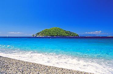 Skopelos island, view from Milia Beach to an island, Sporades, Greek Islands, Greece, Europe