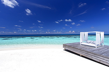 Sofa at the beach in the Maldives, Indian Ocean, Asia