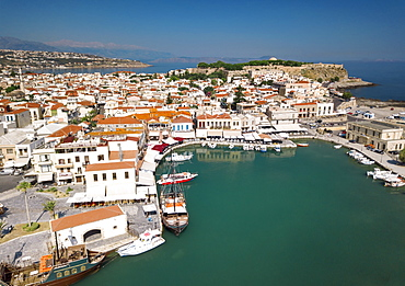 Aerial view of Rethymno old town, Venetian Harbour and fortress, Crete Island, Greek Islands, Greece, Europe (Drone)