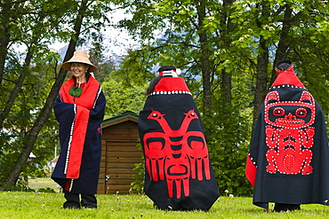 Tlingit native performers at Chief Shakes Tribal House, historic site, Wrangell, Southeast Alaska, United States of America, North America