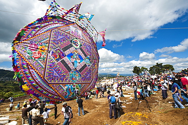 Day Of The Dead kites (barriletes) in cemetery in Santiago Sacatepequez, Guatemala, Central America